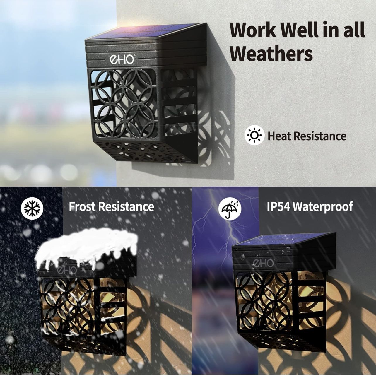 Solar Deck Lights, Solar Fence Lights Outdoor Waterproof LED Garden Decorative Lighting for Post,Patio, Front Door, Step, Stair, Landscape and Yard, W