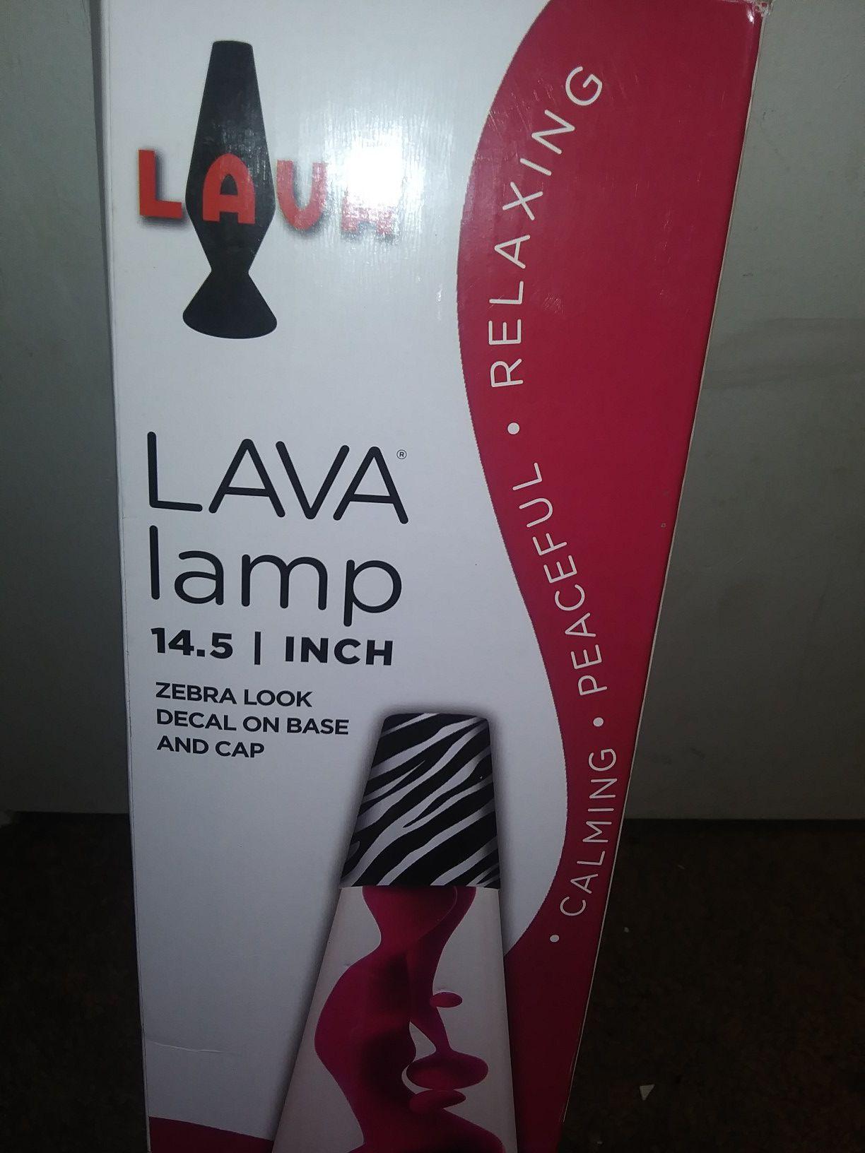 "14.5"" Lava Lamp w Zebra Print Base"