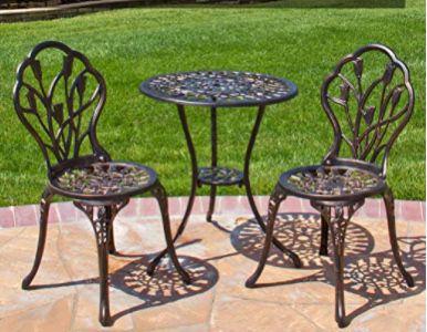 Patio Rustic Table Set Aluminum Bistro Set Outdoor table