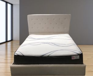 NEW Queen Bed Frame Color Beige With Crystals  Thumbnail