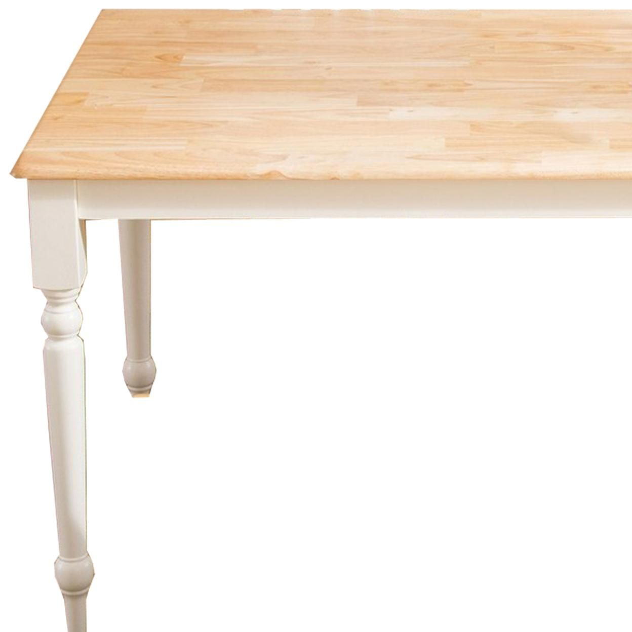 Saltoro Sherpi 6 Piece Farmhouse Wooden Dining Set, White and Brown