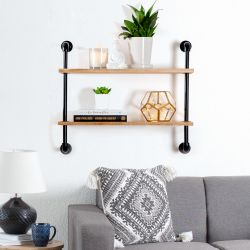 Terville Pipe Wall Shelf - 2 Tier Thumbnail