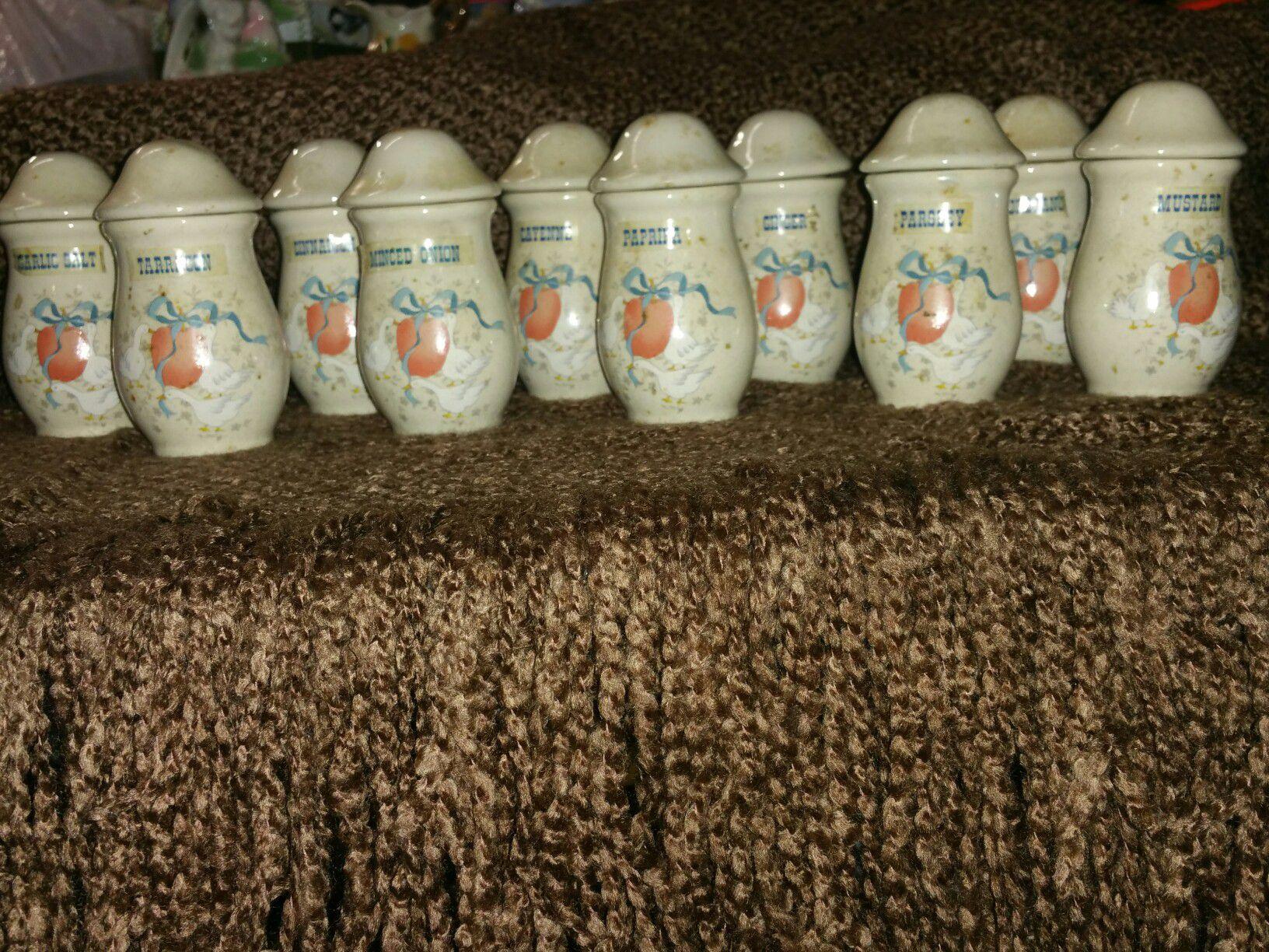 Vintage Geese & Apples spice jars