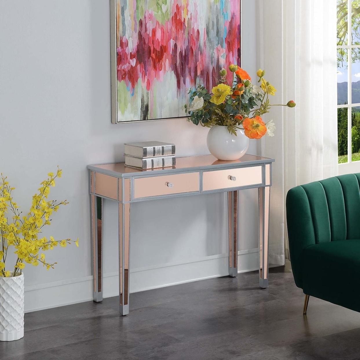 Gold Coast Mirrored Desk , Silver/Rose