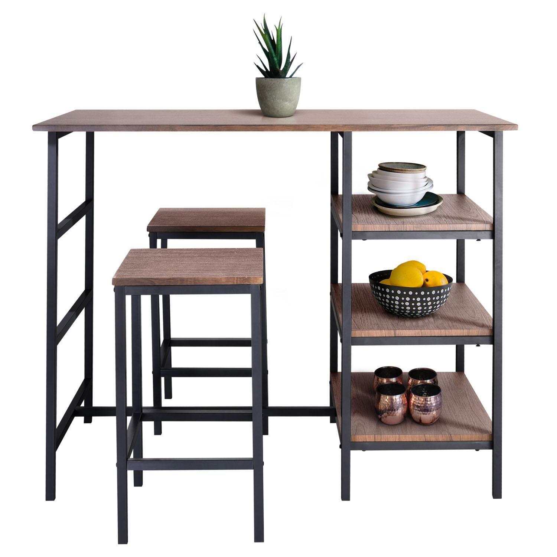 Zenvida Pub Table Set 3 Piece, 2 Stools Space Saver Kitchen Island With Storage Shelves Breakfast Coffee Bar Bistro