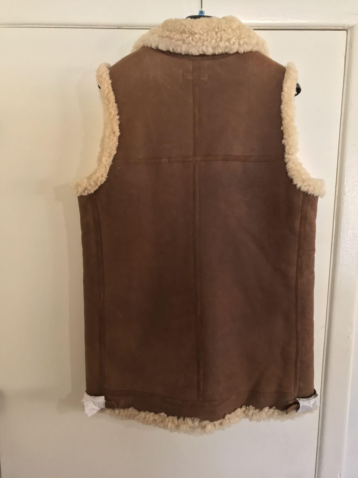 Polo 🐎 Ralph Lauren 🇺🇸 Fur & Leather Vest Sz Medium