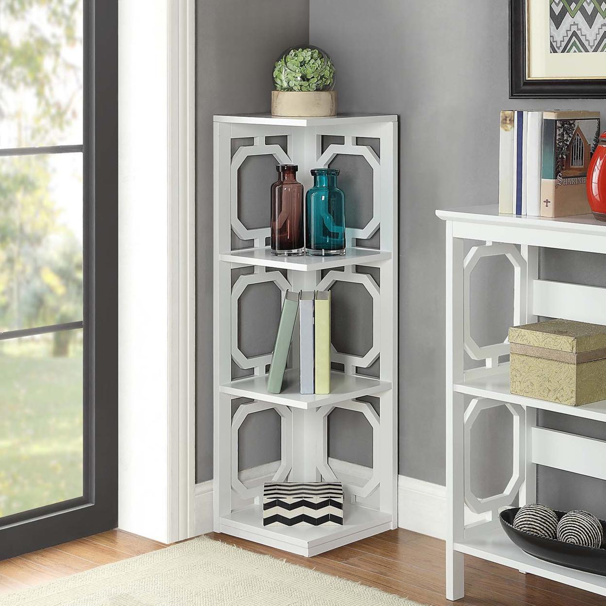 Omega 3 Tier Corner Bookcase, White