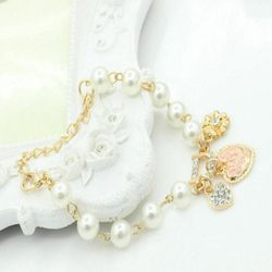Fashion Gold Plated Women's Jewelry Crystal Heart Bangle Pearl Bracelet Hot Thumbnail
