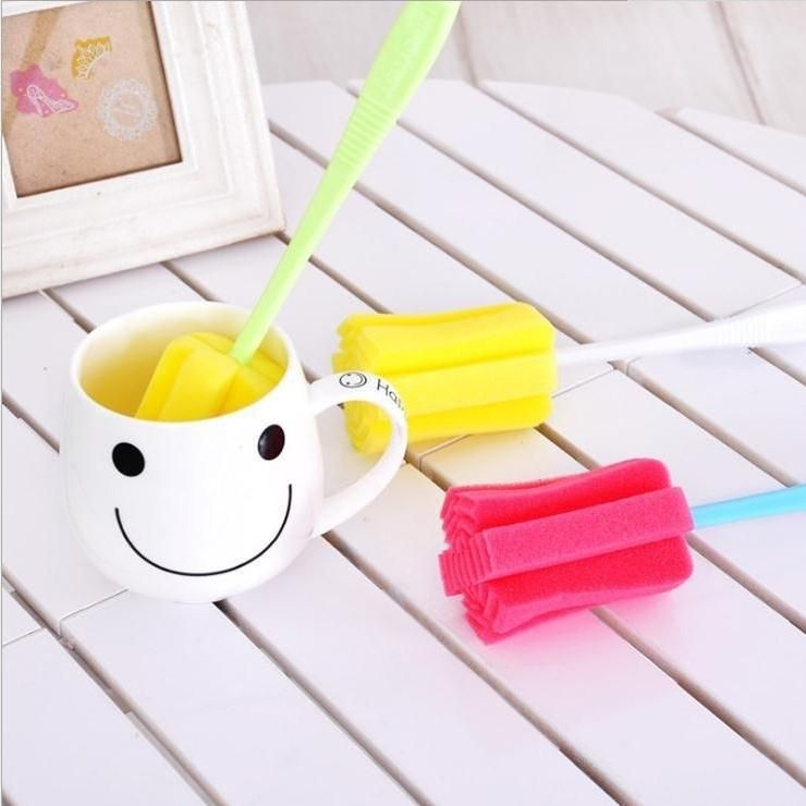 3 Pc Sponge Brush Milk Bottle Cup Glass Washing Cleaning Kitchen Cleaner Tool