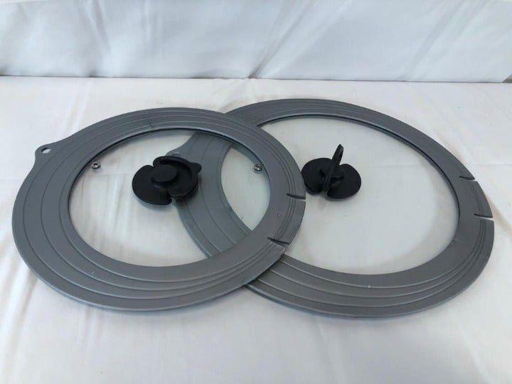 Set of 2 Universal Glass Draining Lids