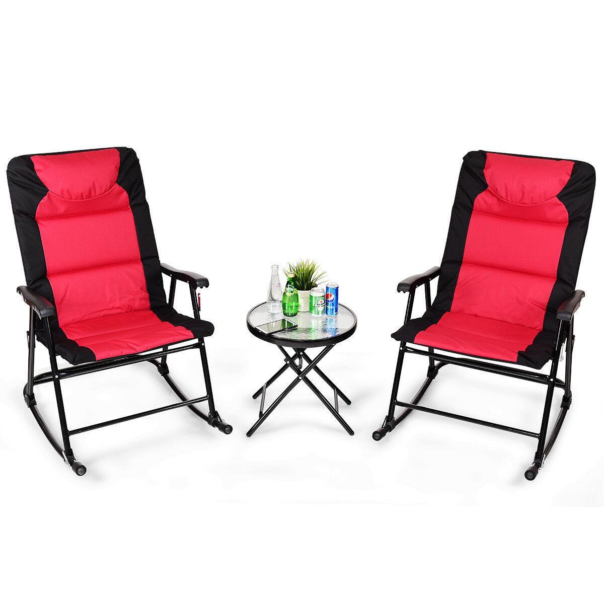3PCS Folding Bistro Set Rocking Chair Cushioned Table Garden Furniture