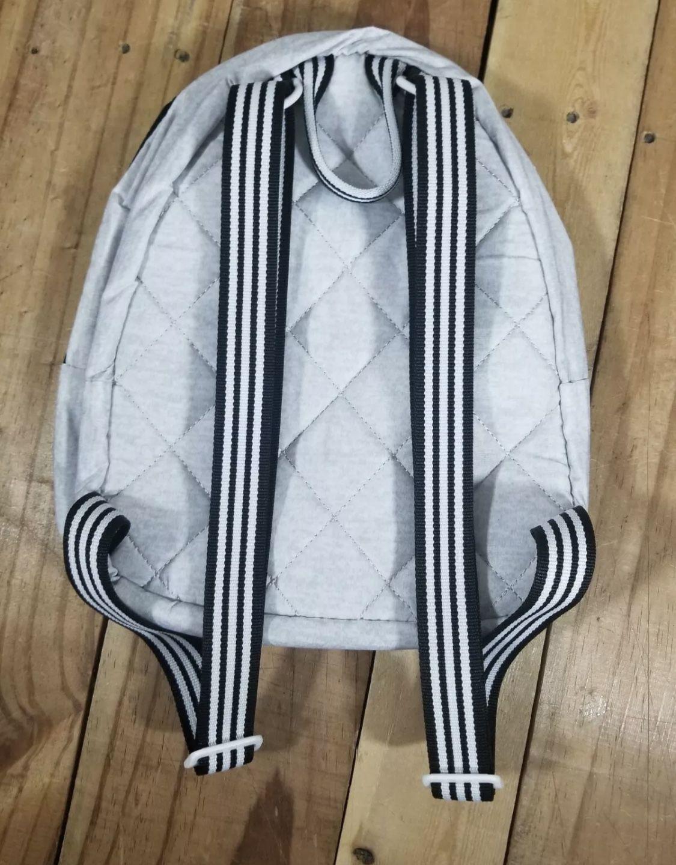 Adidas Core Mini Small Unisex Backpack Gray White Jersey Black Stripes