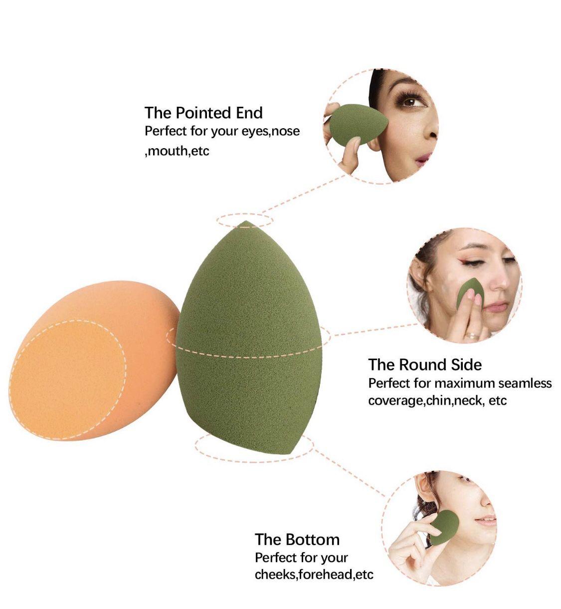 Makeup Sponge with Dry Holder Beauty Sponge Blender Flawless Foundation for Liquid Cream and Powder (4+1Pcs)
