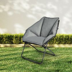 Costway Folding Saucer Padded Chair Soft Wide Seat w/ Metal Frame Lounge Furniture Thumbnail