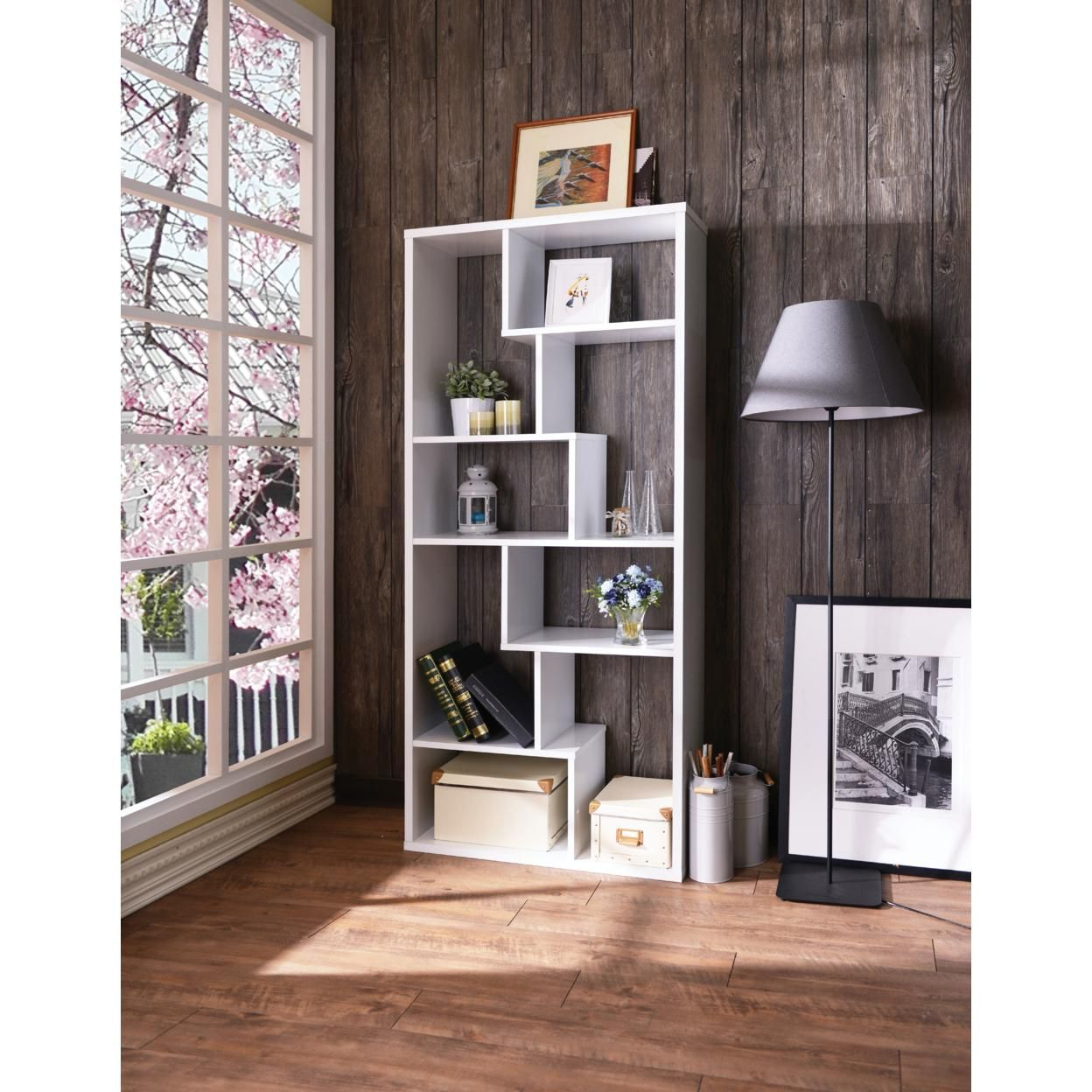 Wooden Rectangular Cube Bookcase with Eight Compartments, White