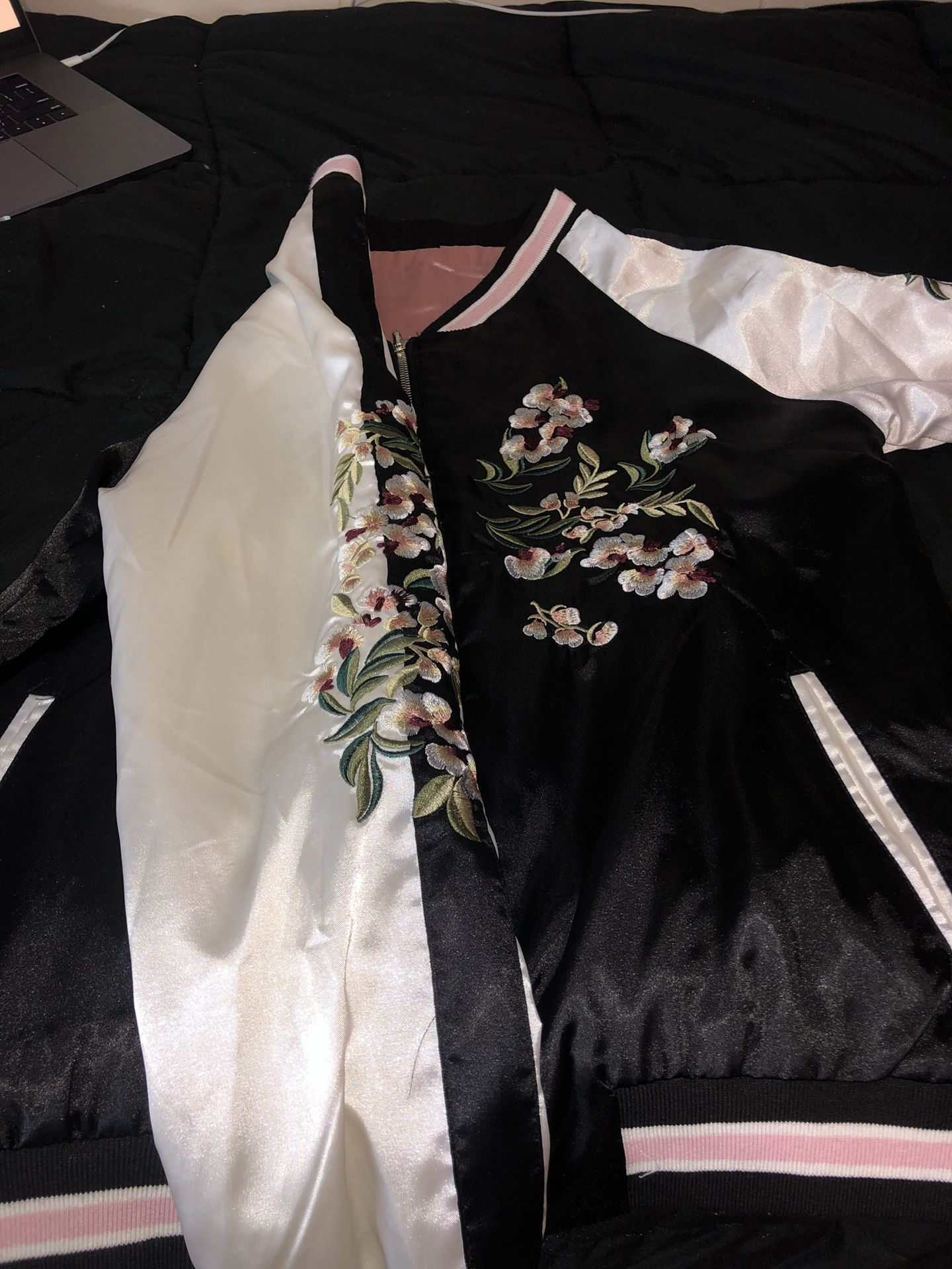 Embroidered Bomber Jacket REVERSIBLE