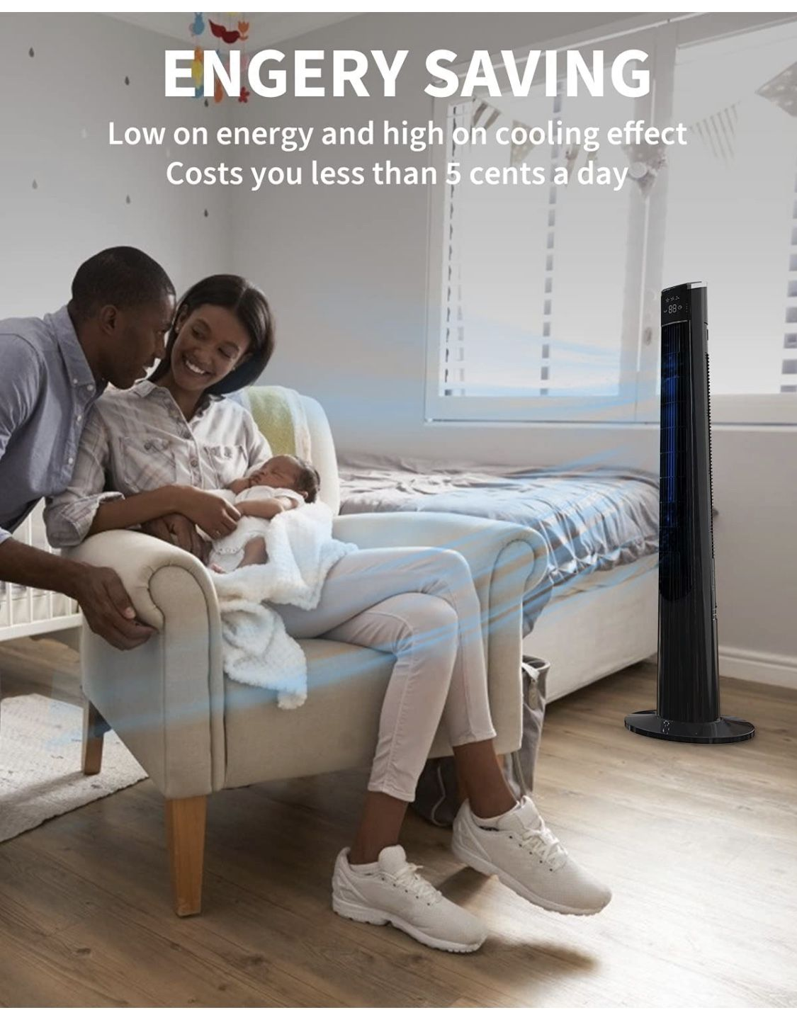 Tower Fan for Bedroom- 48'' Oscillating Fan with Remote, Cooling, Quiet, Large LED Display, 12-Hour Timer, Electric Black Standing Bladeless Fan for W