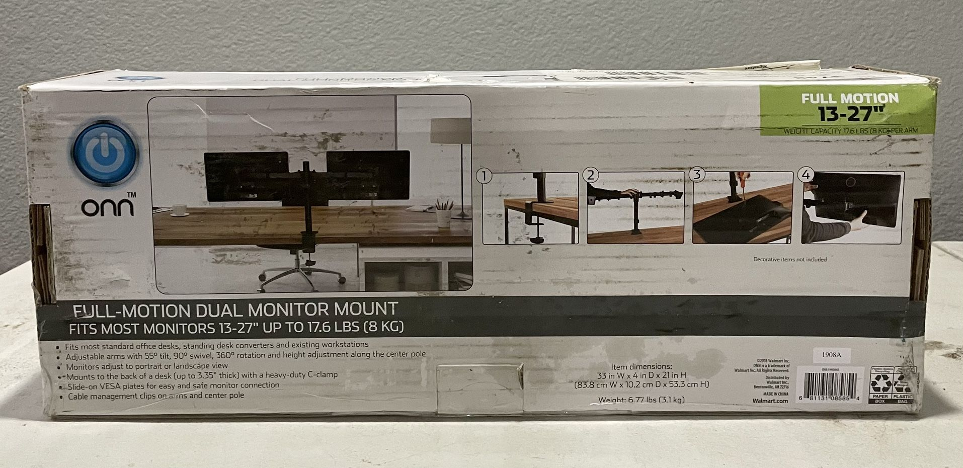 """ONN Full Motion Dual Monitor Arm, For Monitors 13"""" to 27"""""""