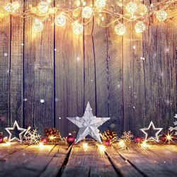 7x5ft Christmas Photo Backdrops Wood Backgrounds Light Glitter Decoration Photo Booth Props for Children Thumbnail