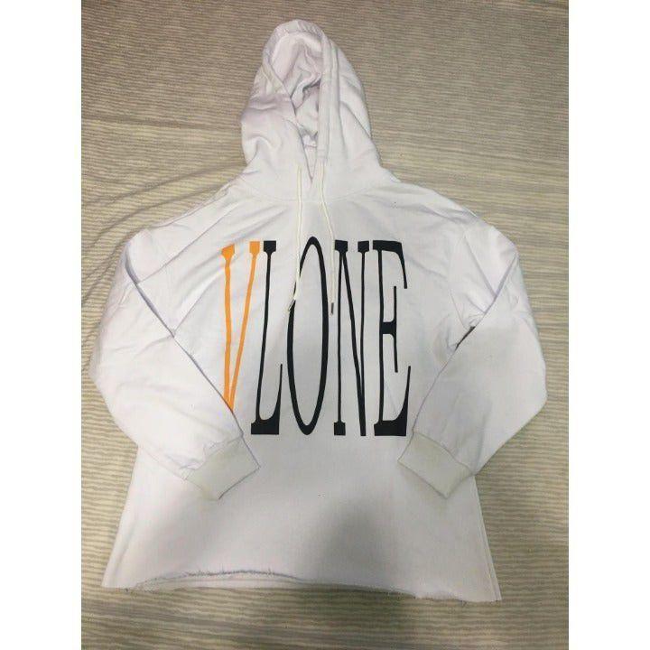 Vlone White And Yellow Logo Hoodie L
