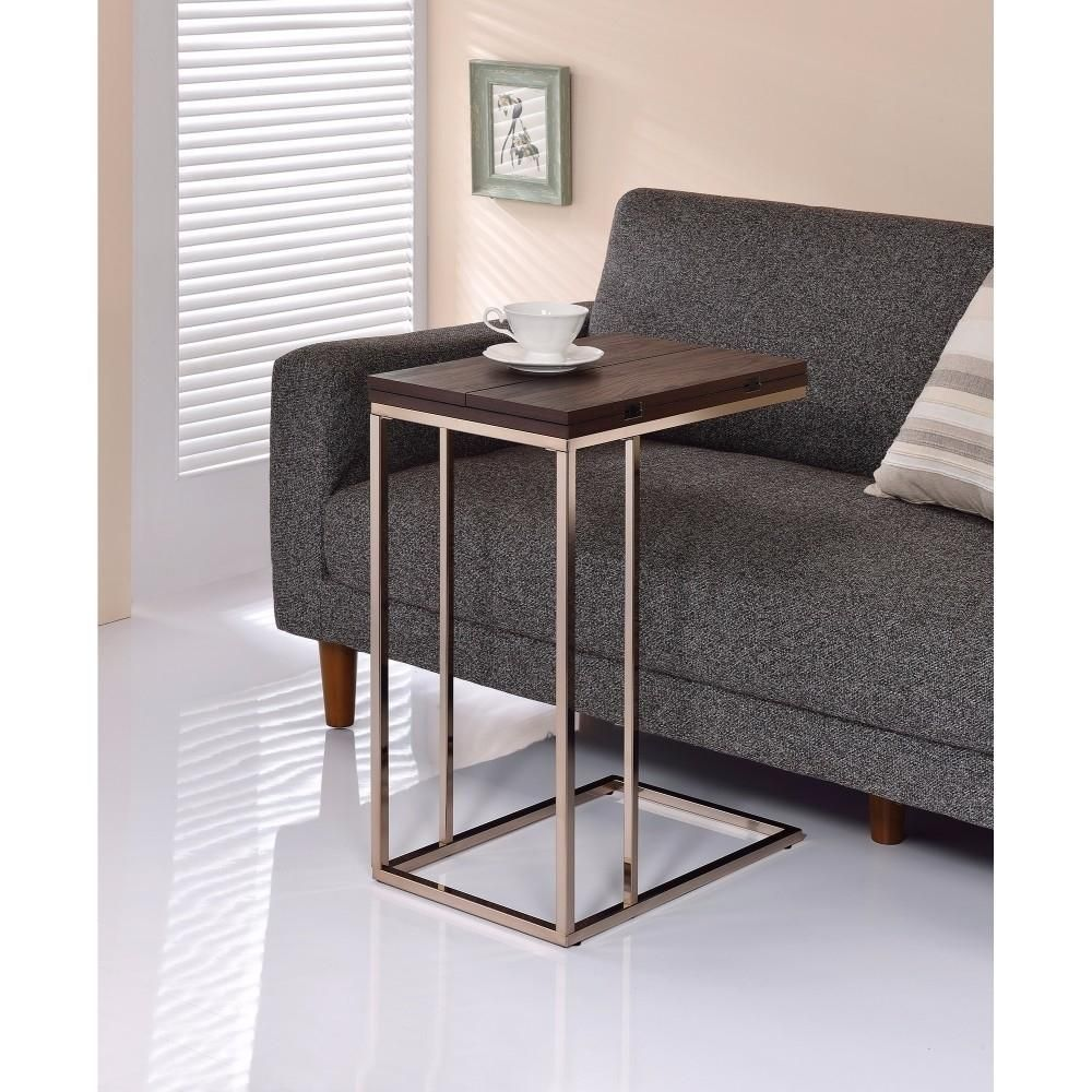 Saltoro Sherpi Classic Brown Wooden Top Snack Table With Chrome Legs