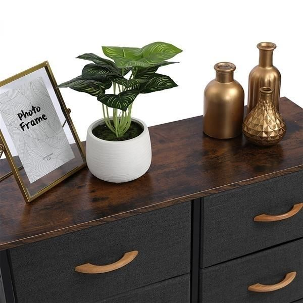3-Tier Wide Dresser, Storage Unit with 6 Easy Pull Fabric Drawers, Metal Frame, and Wooden Tabletop, for Closet,