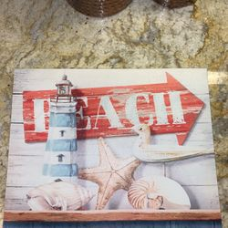 """BEACH (14"""" W / 11"""" H / 1"""" thick) canvas painting with shells, bird and lighthouse (home decor) Thumbnail"""