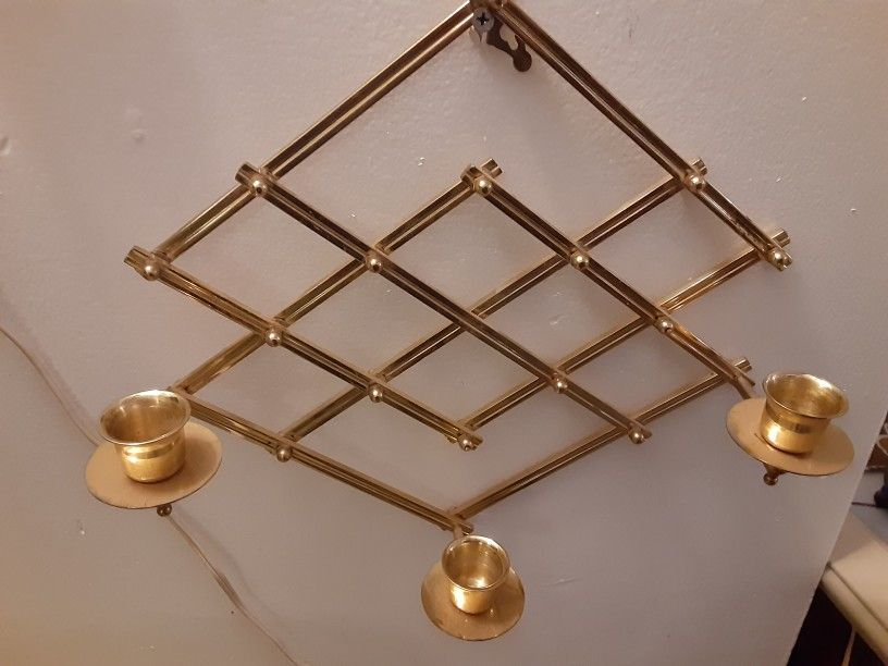 VERY NICE LOOKING Solid BRASS CANDLE HOLDER you can ADJUST IT TO short ARE Long HOLES 3 CANDLES