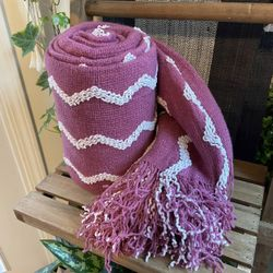 """Fluffy Chenille Knitted Fringe Throw Blanket Lightweight Soft Cozy for Bed Sofa Chair Throw Blankets ,   Deep Purple 60""""x80""""  60""""x80"""" 【ULTRA-SOFT PLUS Thumbnail"""