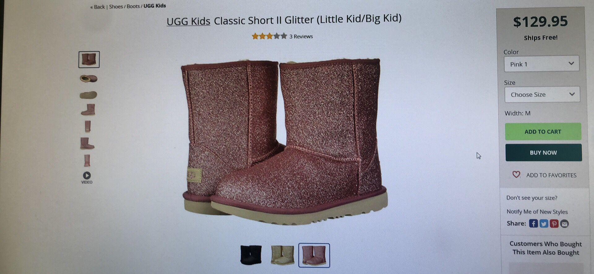 Ugg kids classic short II glitter boots size 9 and 10 toddler