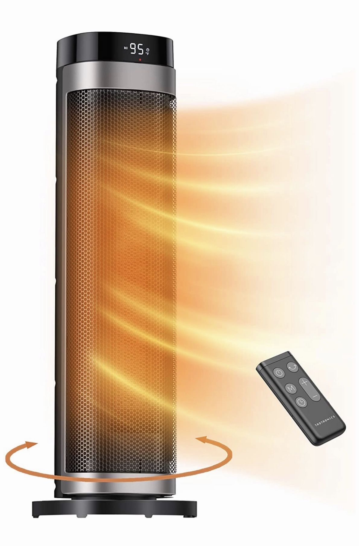 """1500W Fast Heating Ceramic Tower Fan Heater, 24"""" High Oscillating Portable & Quiet with Remote ECO Mode 12H Timer Tip-Over Switch Overheating Protect"""