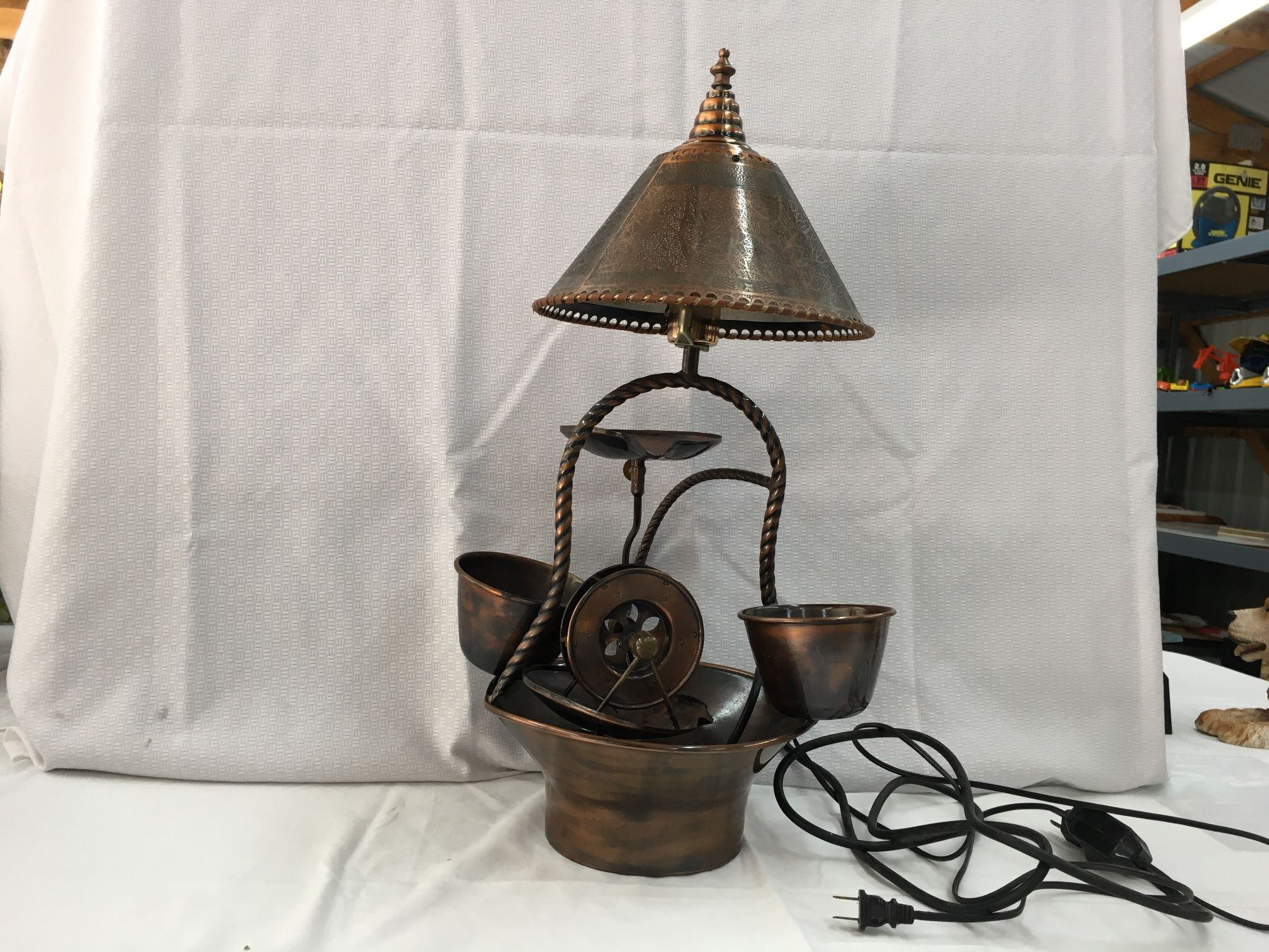 Antique Copper Lamp And Water Feature