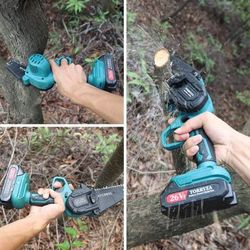 Mini Chainsaw Cordless Electric Chainsaw with 2 Upgraded Battery 2 Chain, 4-Inch Battery Chainsaw Mini Saw for Garden Tree Pruning Br Thumbnail