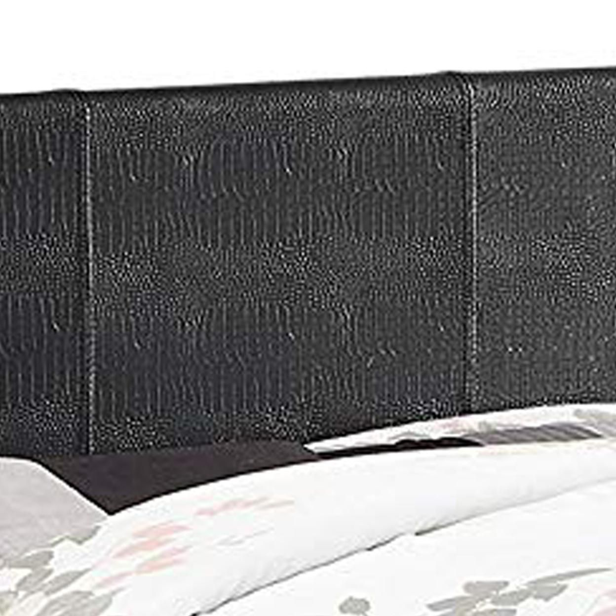 Saltoro Sherpi Contemporary Twin Platform Bed with Textured Leatherette Upholstery, Black
