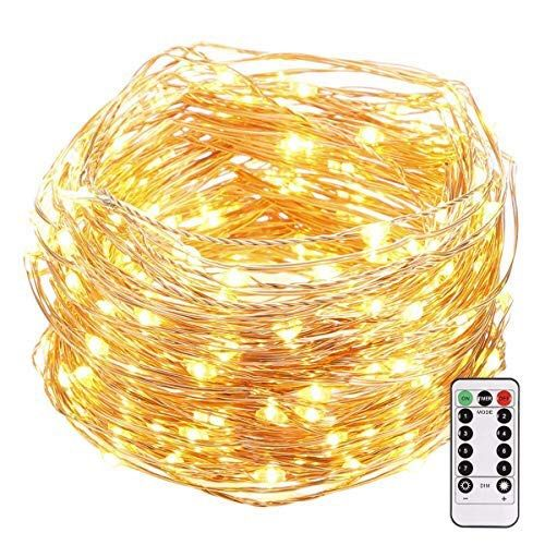 LED String Lights, 33ft 100 LEDs 8 Modes Copper Wire Lights Waterproof Festival Decorative Starry Fairy String Lights Battery Operated