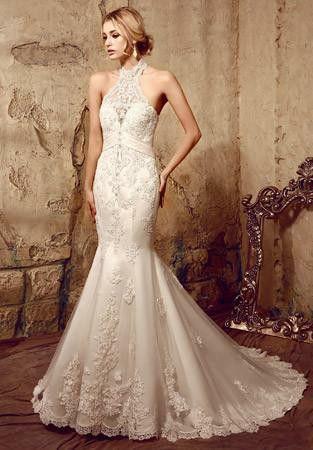 Halter Chantilly Lace Mermaid Ivory Dress Size 12