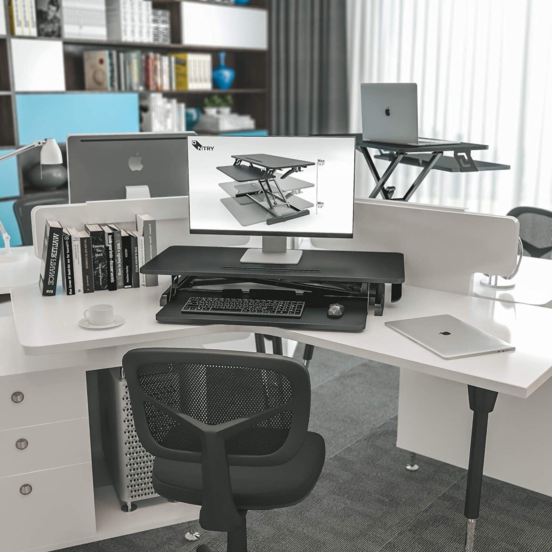 Standing Desk Converter,Height Adjustable Stand Up Desk Riser Ergonomic Desktop Space Allows for Dual Monitors, for Home Office Desk Workstation