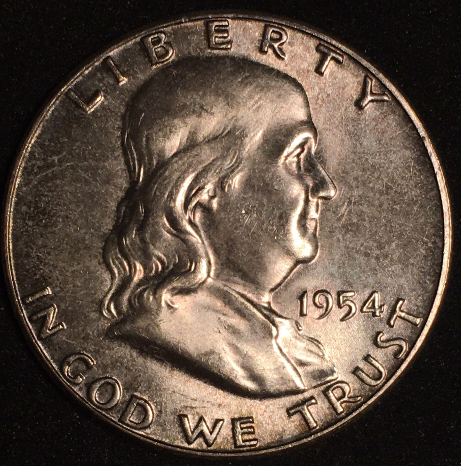 Silver 1954 Franklin Half Dollar