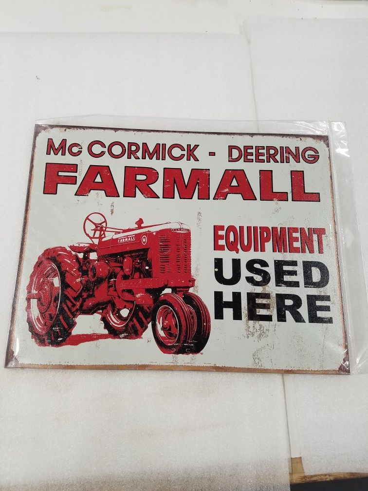Farmall equipment tractor used here farm metal sign