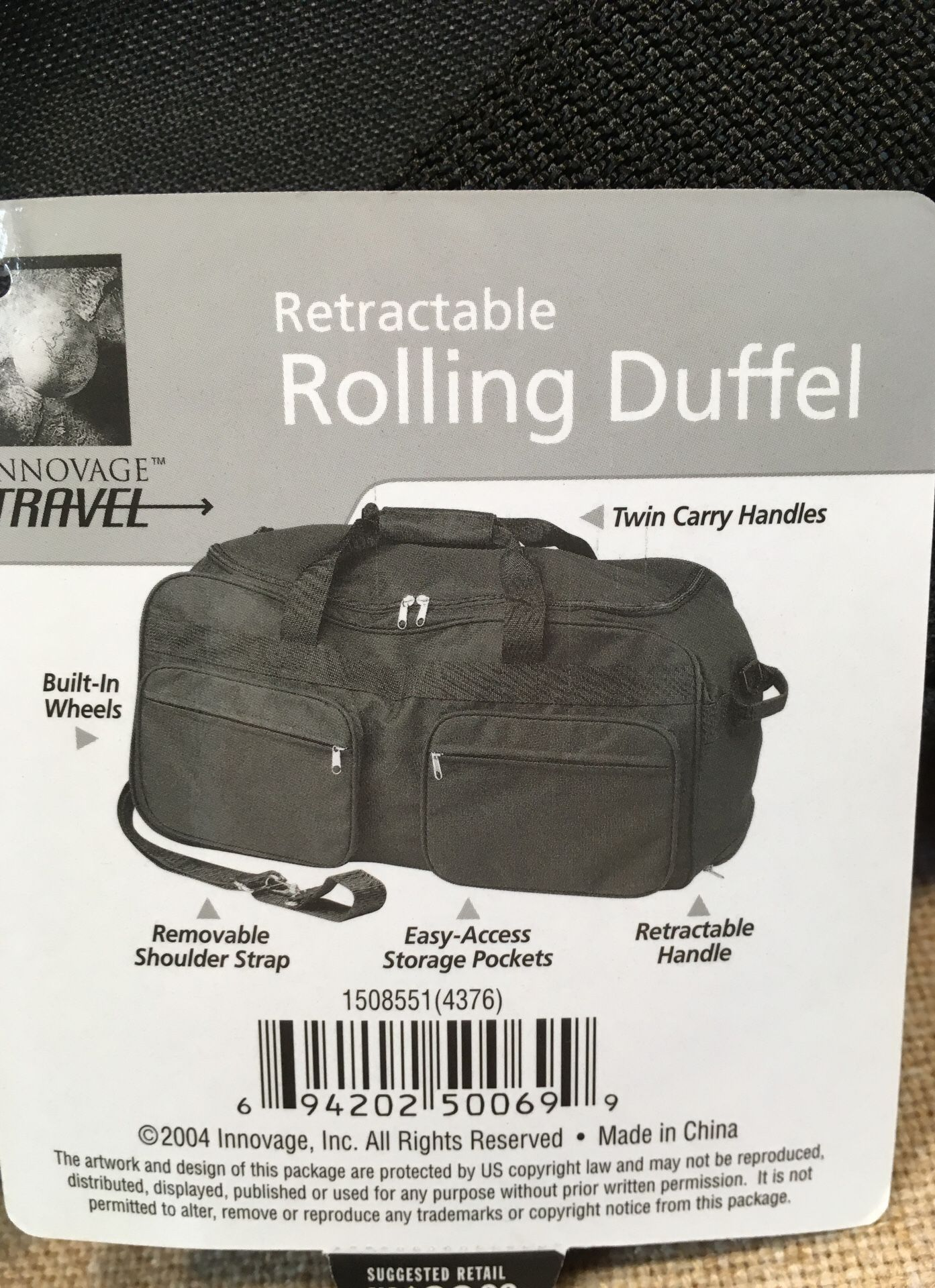 Retractable rolling duffel bag carry bag shoulder travel bag rolling bag with retractable handle zippered bag tote travel luggage light weight