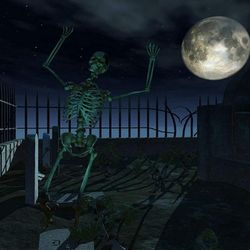 7x5ft Thriller Halloween Photo Backdrops Dark Human Skeleton Haunted Boneyard Photo Booth Props Thumbnail
