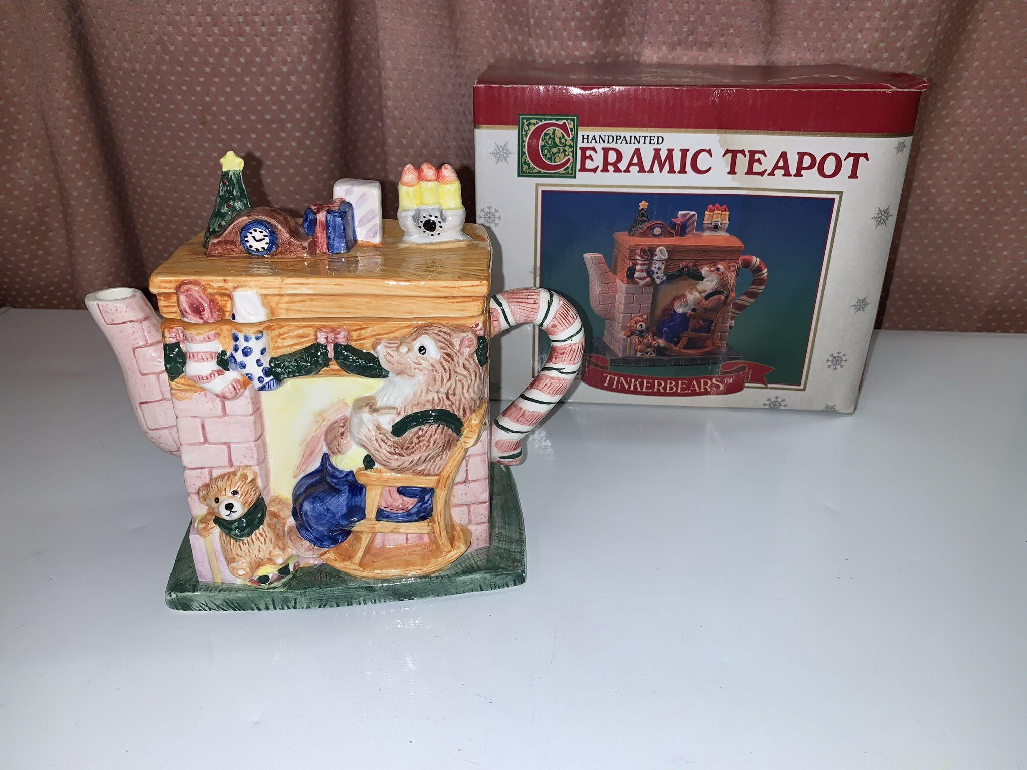 New Ceramic Hand painted Tinker bear Tea Pot Mint Condition