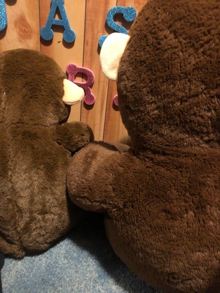 2 stuffed monkeys