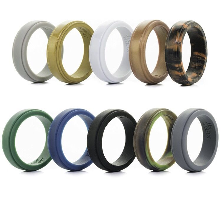 Silicone Wedding Ring for Men - 10 Pack - The Ultimate Silicone Wedding Band Rubber Wedding Ring Set