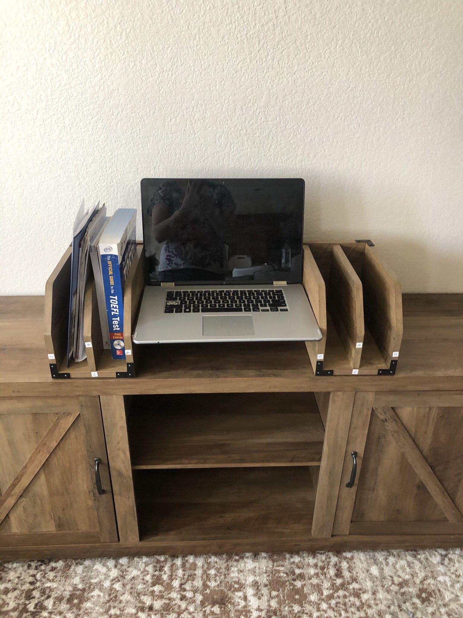 Cumputer Rustic Wood Desktop Organizer