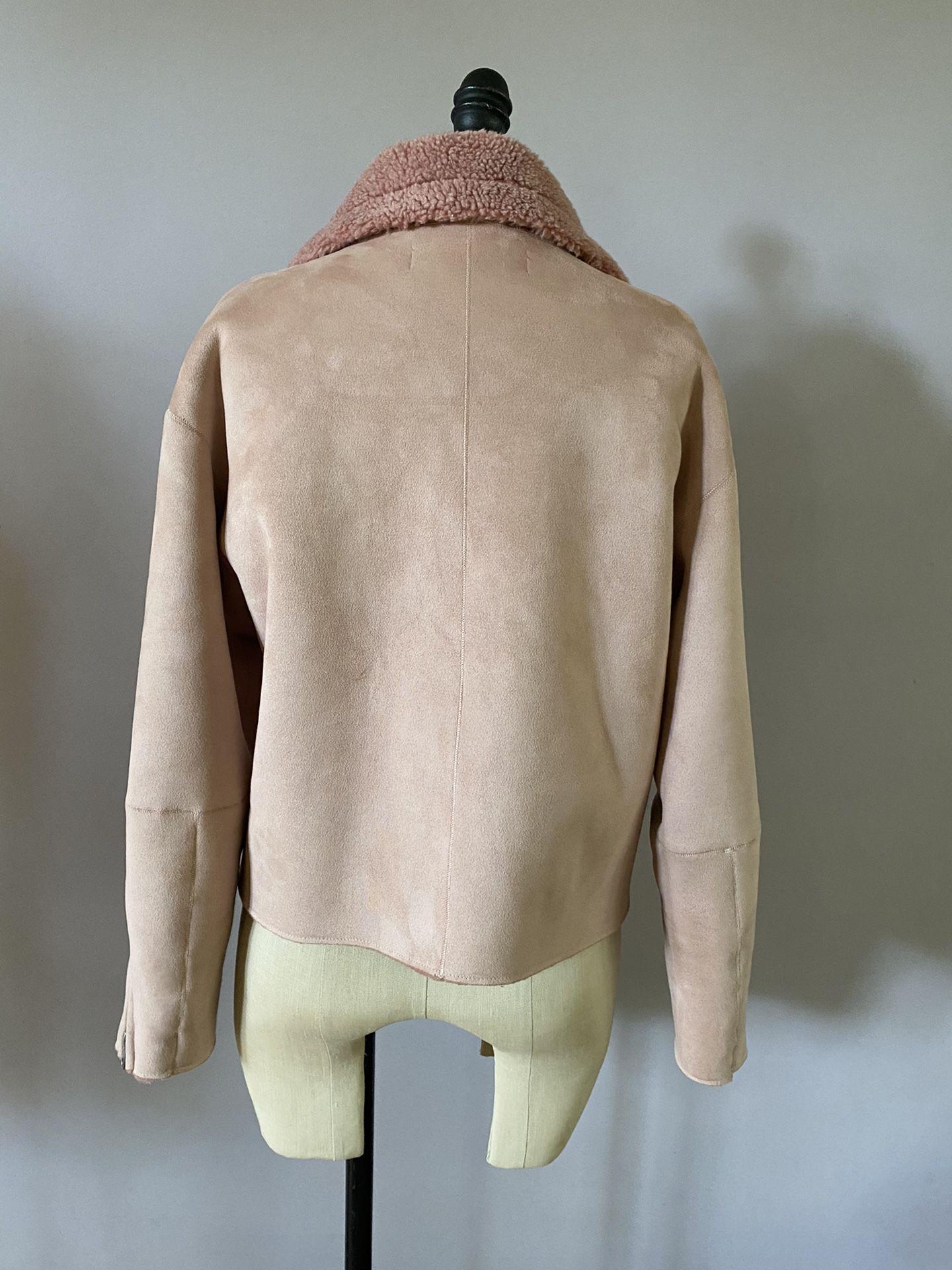 Zara faux shearling jacket size Medium. Dusty pink color