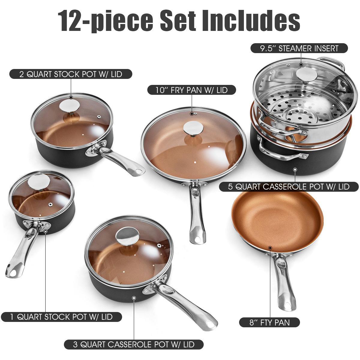 Costway 12 Piece Nonstick Cookware Set Copper Pots Pans Set