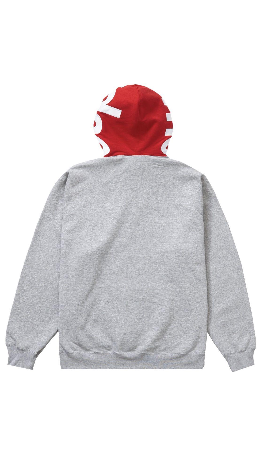 Supreme Contrast Hooded Sweatshirt Hoodies Heather Grey Size XL