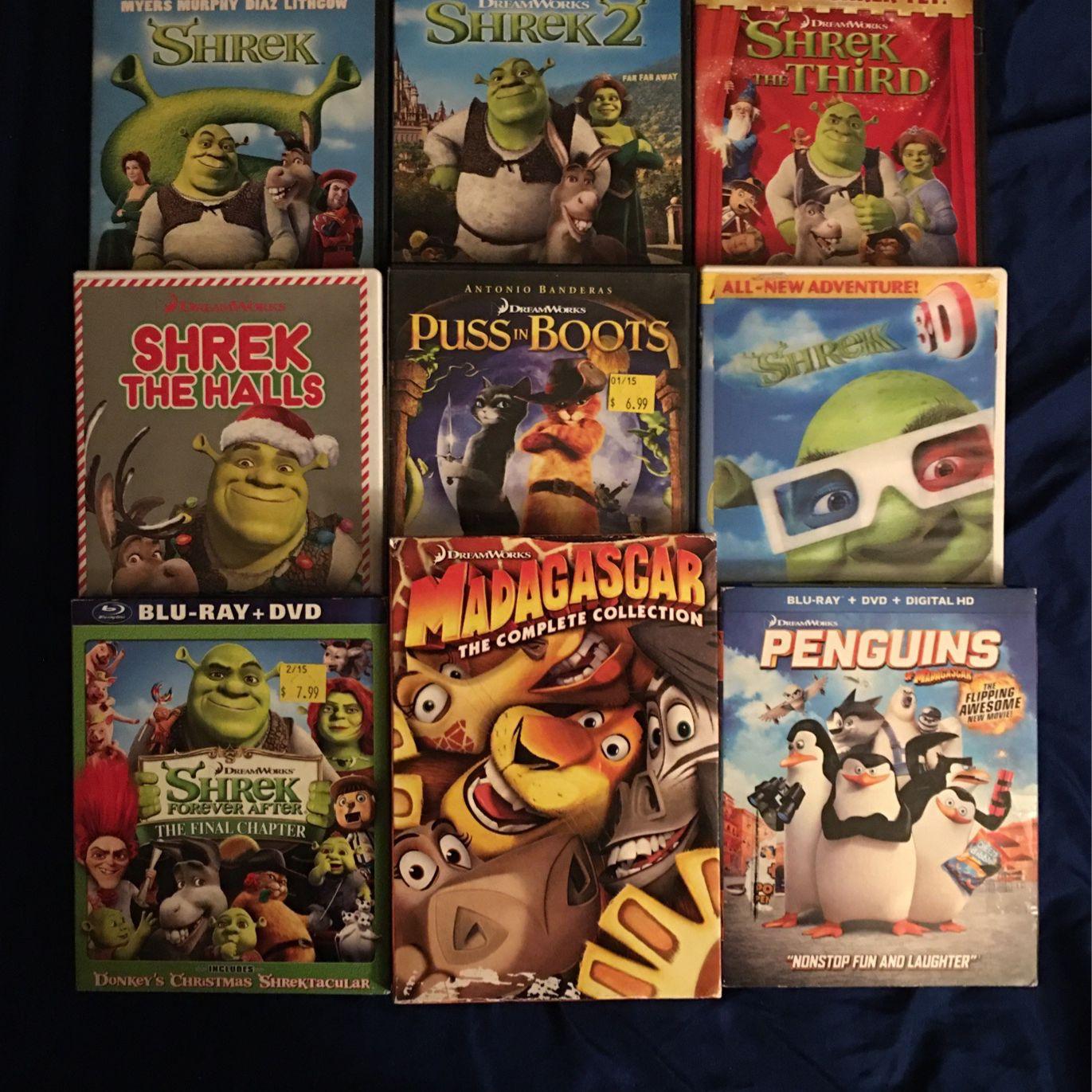 Shrek And Madagascar Complete DVD Sets (Dreamworks)