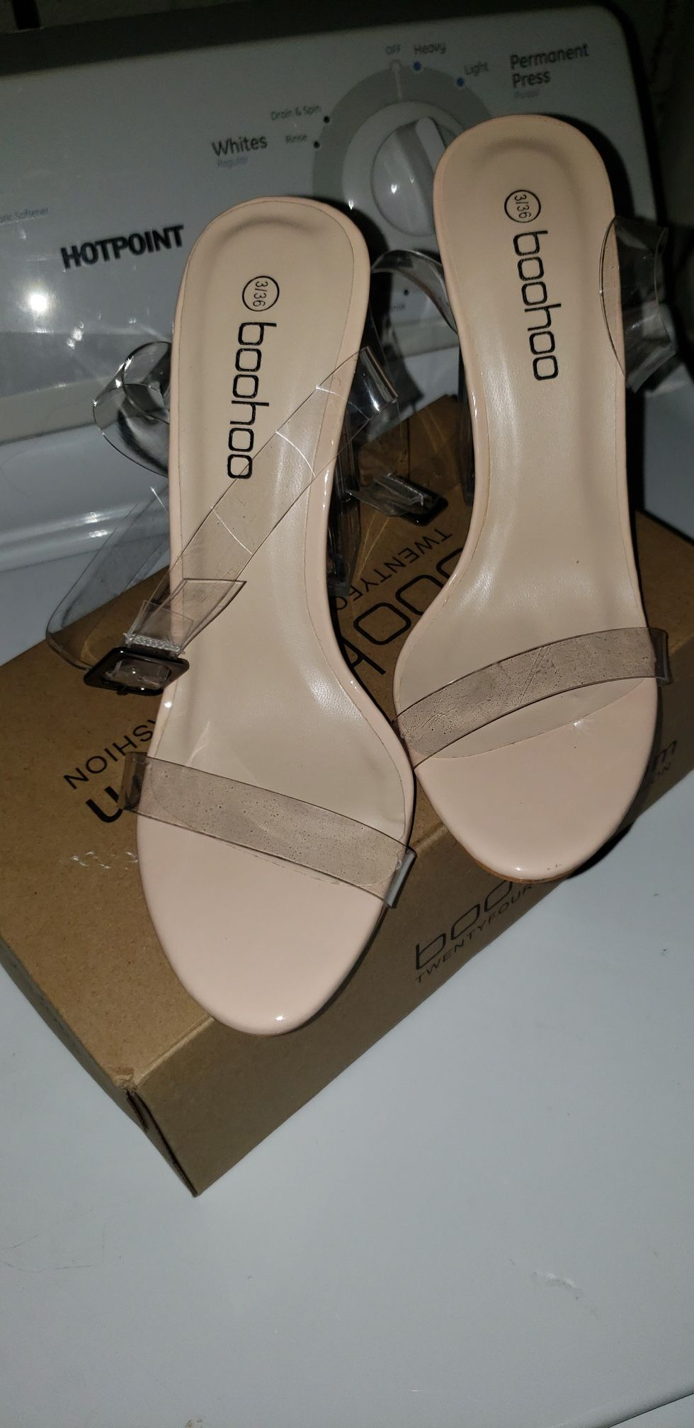 Clear two part block heels